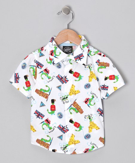 New York-Designed White Dino Button-Up - Infant & Toddler