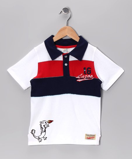 White Dino Shortstomp Polo - Toddler