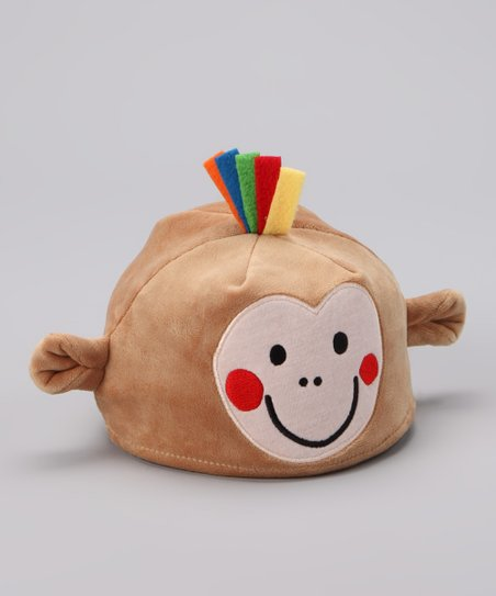 Tan Bobu Monkey Plush Beanie