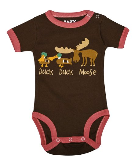 Pink & Brown 'Duck Duck Moose' Bodysuit - Infant