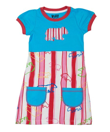 Red & Blue Stripe Bear Dress - Toddler & Girls