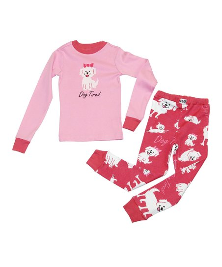 Pink 'Dog Tired' Pajama Set - Toddler & Kids