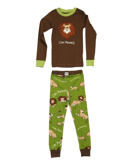 Brown &amp; Green &#039;Lion Around&#039; Pajama Set - Toddler &amp; Kids