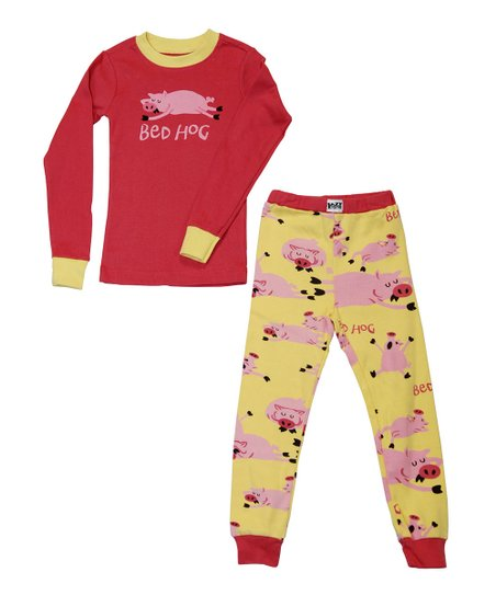 Pink & Yellow 'Bed Hog' Pajama Set - Toddler & Kids