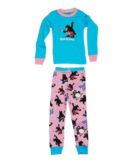 Blue & Pink 'Rock Me' Pajama Set - Toddler & Kids