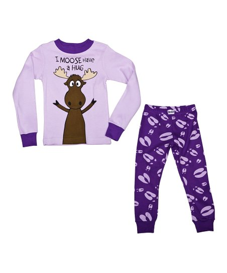Purple 'I Moose Have a Hug' Pajama Set - Toddler & Kids