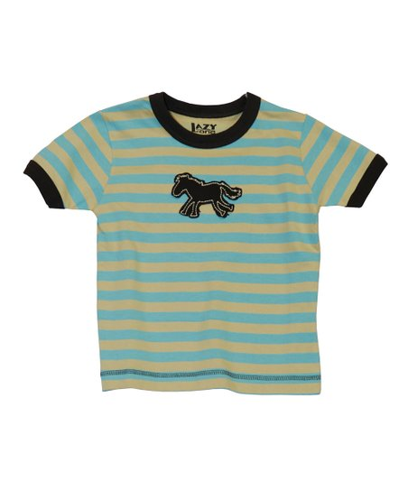 Aqua Stripe Horse Tee - Toddler & Kids