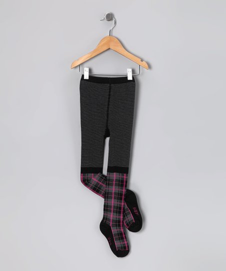 Black &amp; Charcoal Plaid Organic Tights