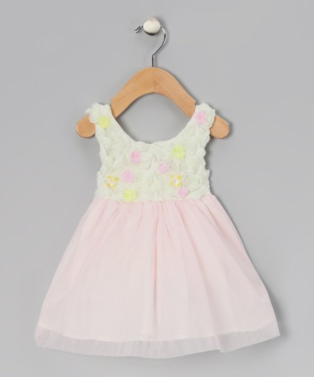 Ivory &amp; Pink Crme Brulee Dress - Girls