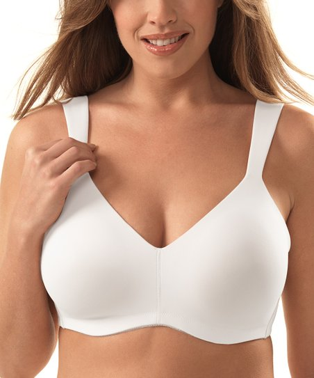 White Seamless Full-Coverage Wireless Bra - Plus