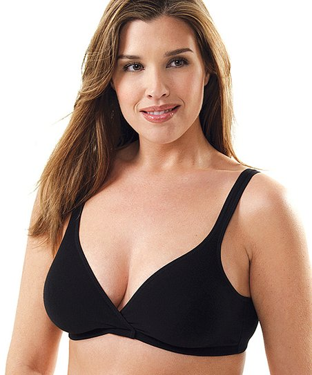 Black Crossover Wireless Leisure & Sleep Bra - Plus