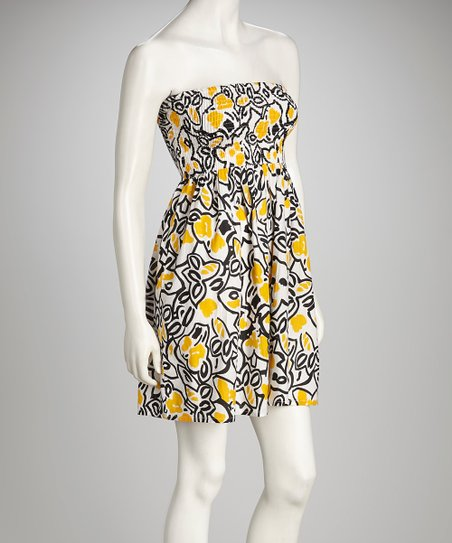Yellow & Black Shirred Strapless Dress