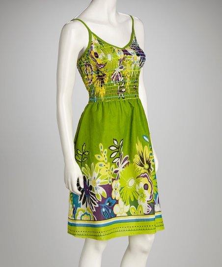 Green Floral Shirred Dress