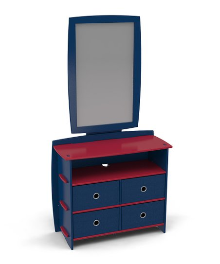 Legaré Red & Navy Dresser & Mirror