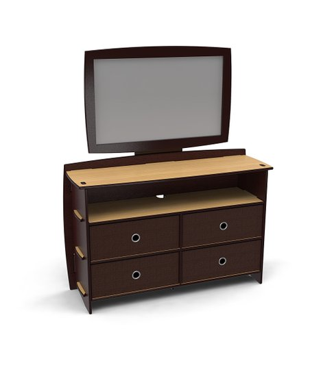 Natural & Espresso Reversible Dresser & Mirror