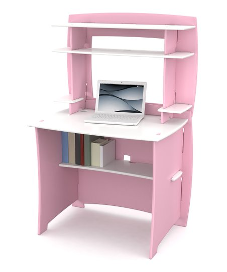 Legar Pink &amp; White Desk &amp; Hutch