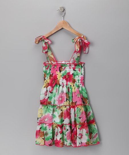 Pink & Green Floral Chiffon Convertible Dress - Girls