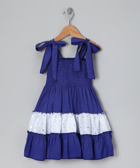 Navy & White Sequin Convertible Dress - Toddler & Girls