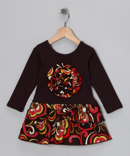 Brown & Yellow Floral Rosette Ruffle Dress - Toddler & Girls