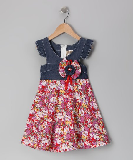 Denim & Red Floral Angel-Sleeve Dress - Toddler & Girls