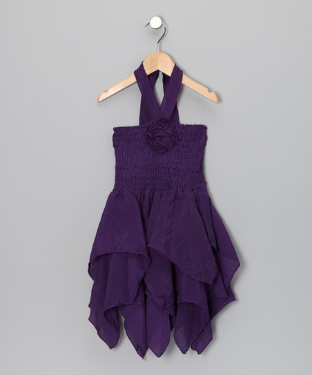 Purple Rosette Handkerchief Dress - Toddler & Girls