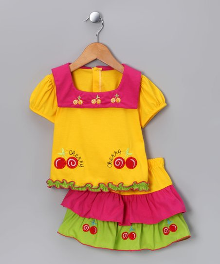 Yellow Cherry Top & Skirt - Infant & Toddler