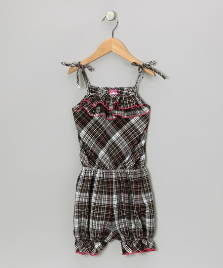 Black & Pink Plaid Ruffle Romper - Toddler & Girls