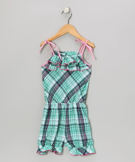 Blue &amp; Pink Plaid Ruffle Romper - Toddler &amp; Girls