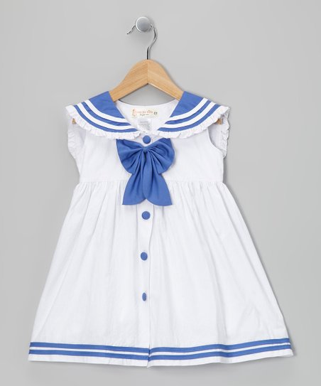 White & Periwinkle Sailorette Bow Dress - Infant & Toddler
