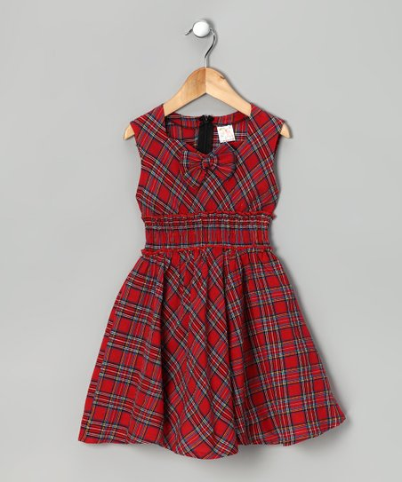 Lele for Kids Red Plaid Bow Dress - Girls