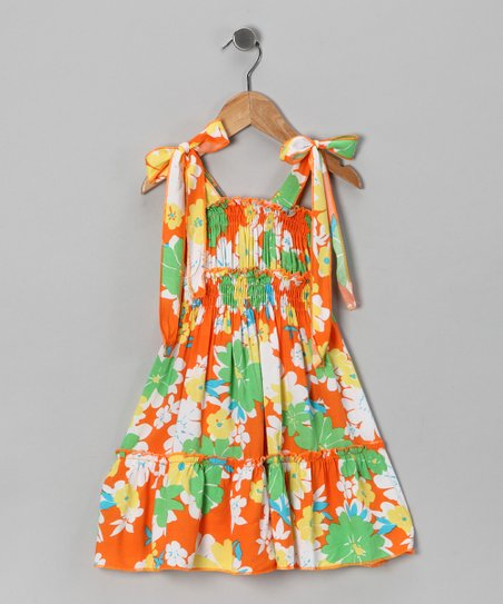 Orange Floral Dress - Toddler & Girls