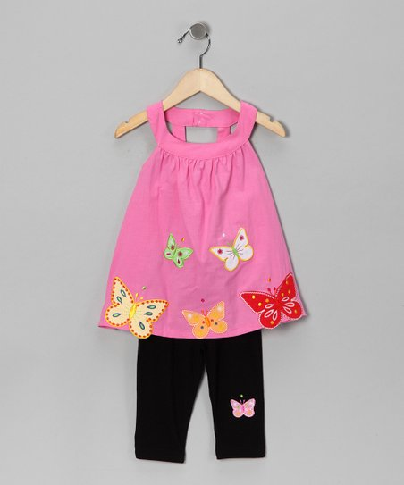 Pink Butterfly Tunic &amp; Leggings - Toddler &amp; Girls