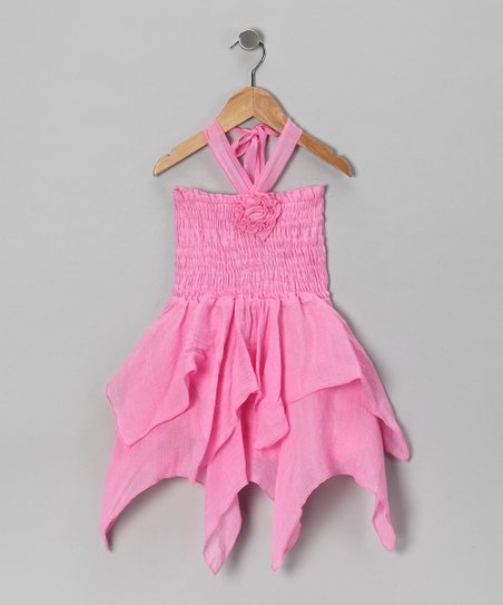 Pink Rosette Handkerchief Dress - Toddler & Girls