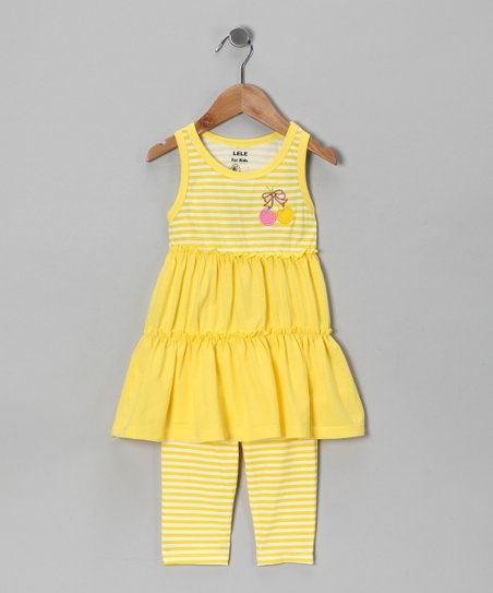 Yellow Stripe Tunic & Leggings - Toddler & Girls