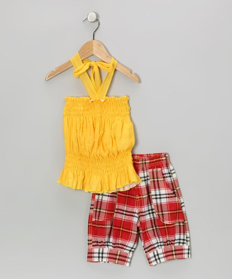 Yellow Halter Top & Plaid Capri Pants - Toddler & Girls