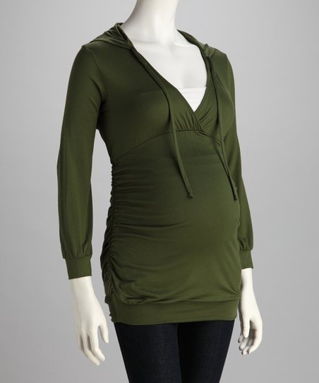 Olive Hooded Maternity Top - Women