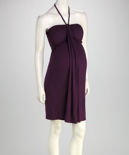 Purple Maternity Halter Dress