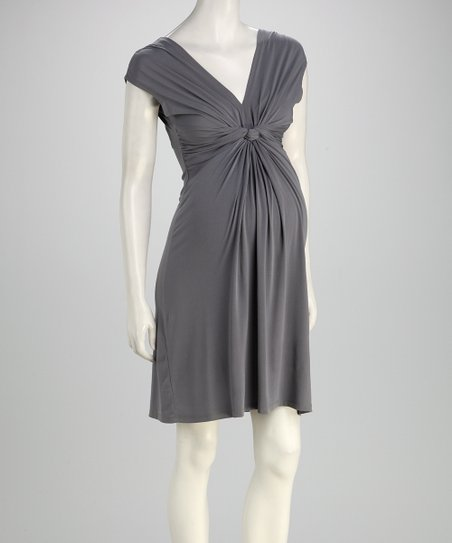 Gray Knot Maternity Dress