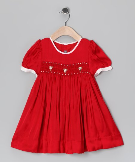 Red Smocked Flower Dress - Infant, Toddler & Girls