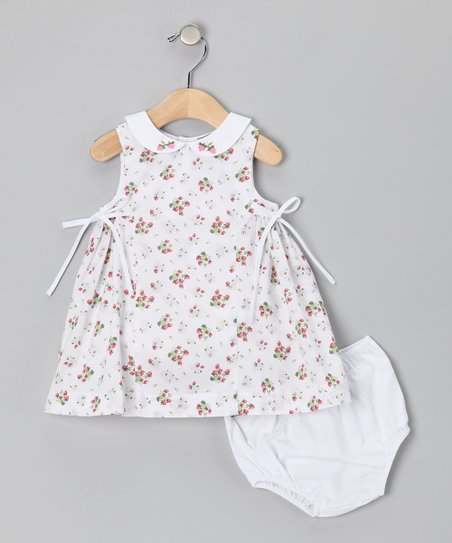 White &amp; Red Strawberry Dress &amp; Diaper Cover - Infant