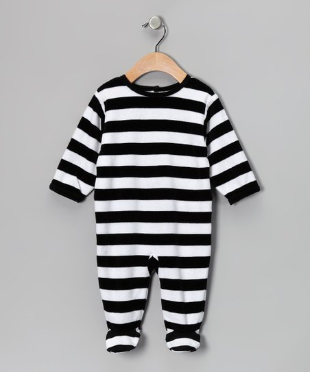 Black &amp; White Stripe Velour Footie - Infant
