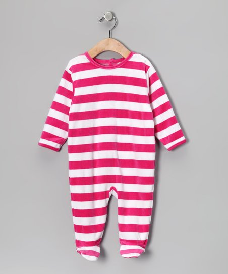 Magenta & White Stripe Velour Footie - Infant