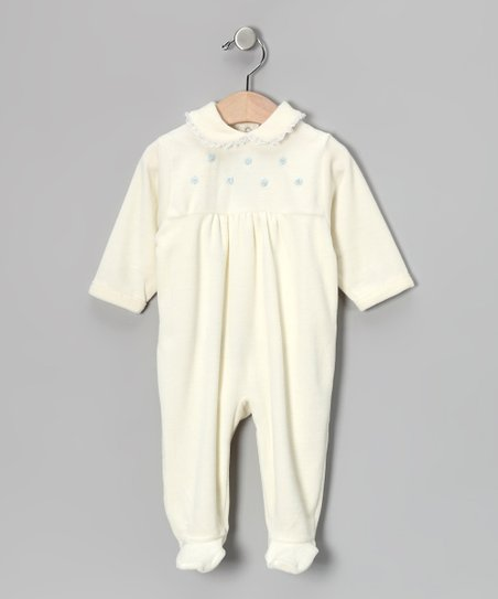 Off-White & Light Blue Rosette Velour Footie - Infant