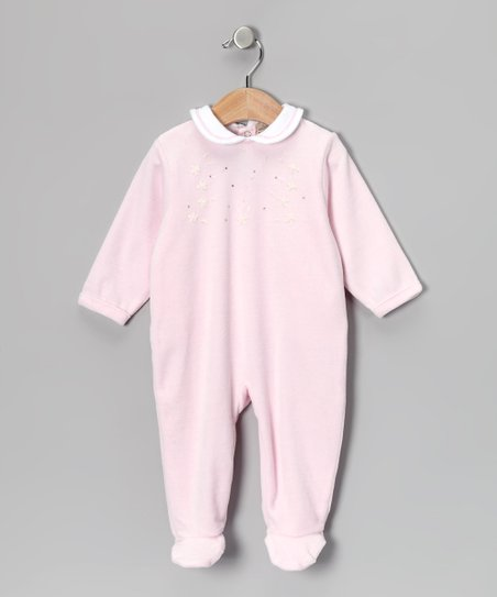 Pink Rhinestone Velour Footie - Infant