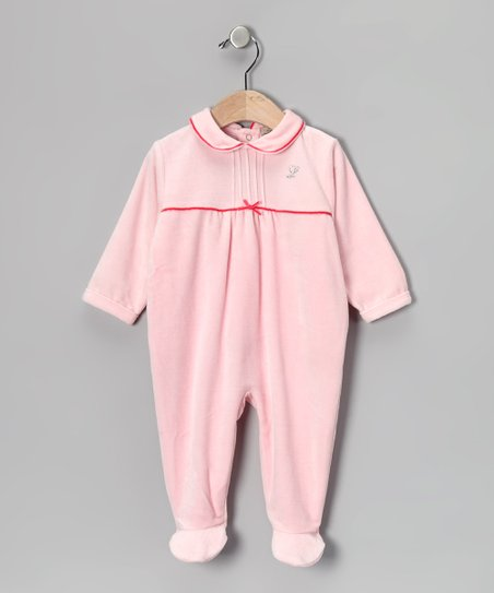 Dark Pink Ribbon 'L' Rhinestone Velour Footie - Infant