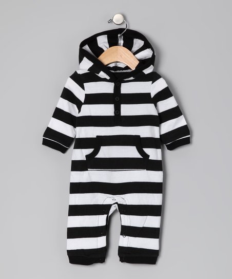 Black & White Stripe Playsuit - Infant