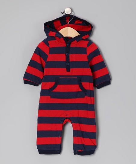 Red & Navy Stripe Hooded Playsuit - Infant