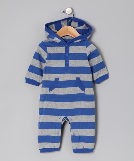 Royal Blue & Gray Stripe Playsuit - Infant