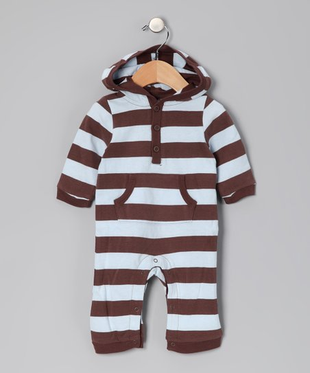 Brown & Light Blue Stripe Hooded Playsuit - Infant
