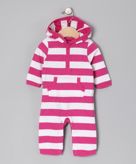Magenta & White Stripe Hooded Playsuit - Infant
